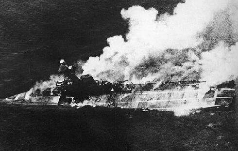 HMS Hermes Airphoto by japanese pilot